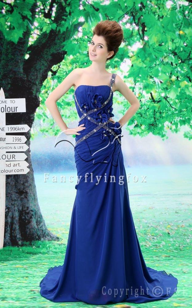royal blue chiffon one shoulder a-line floor length evening dress L-024