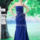 royal blue chiffon one shoulder a-line floor length evening dress L-024