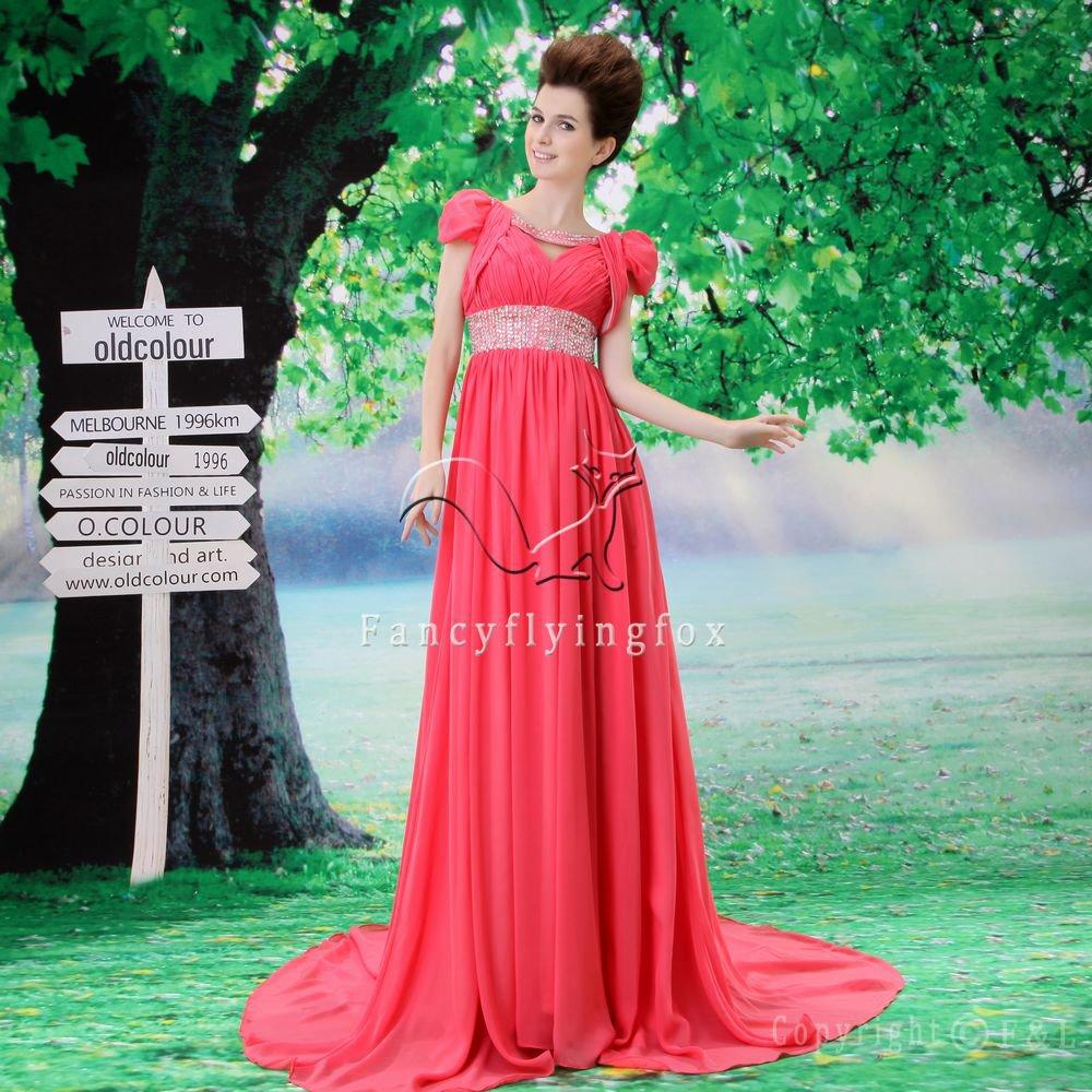 stunning water melon chiffon cap sleeves a-line floor length evening dress L-025