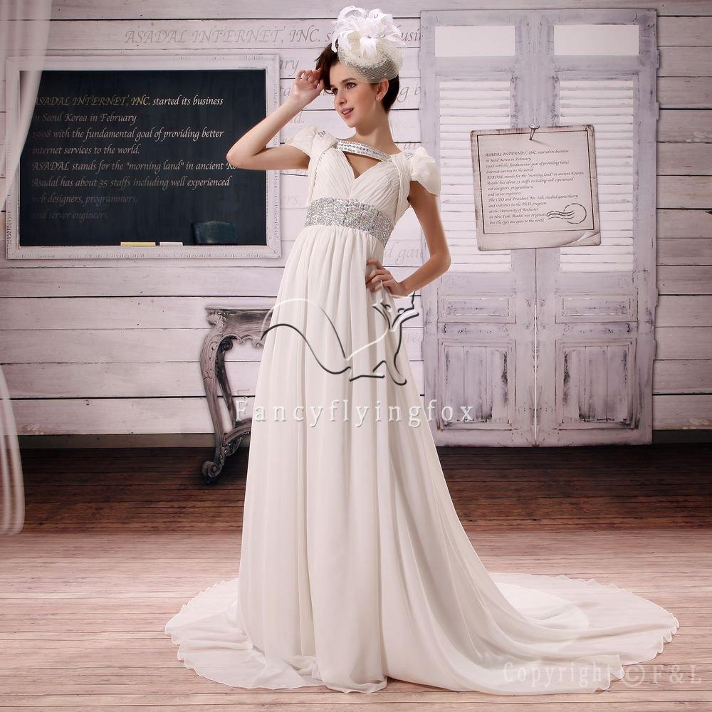 couture chiffon v-neck a-line floor length casual beach wedding dress L-025
