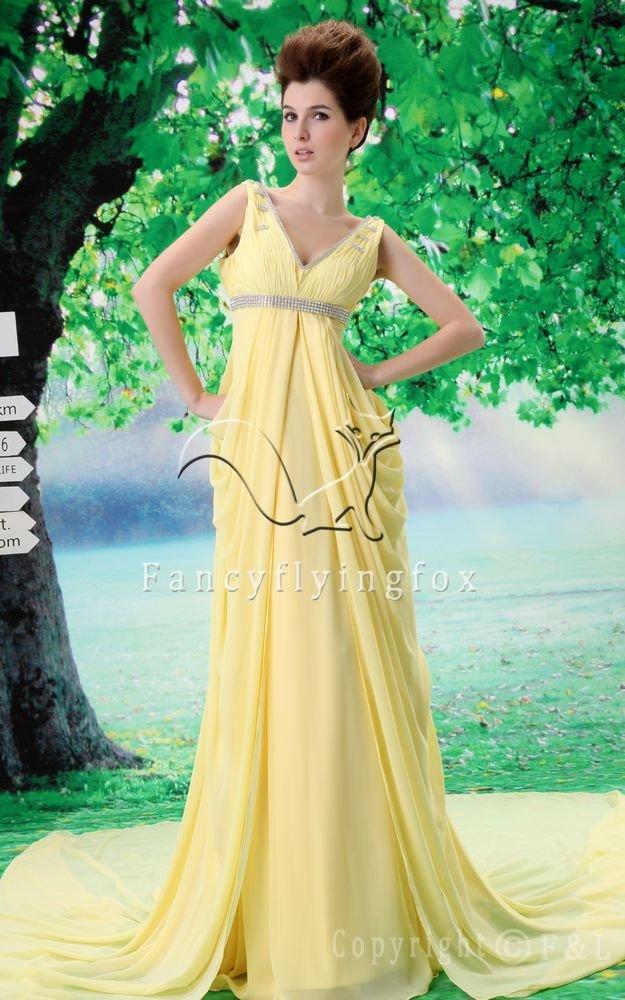 affordable daffodil chiffon v-neckline a-line floor length evening dress L-026
