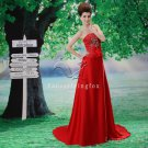gorgeous red satin strapless a-line floor length red wedding dress L-027