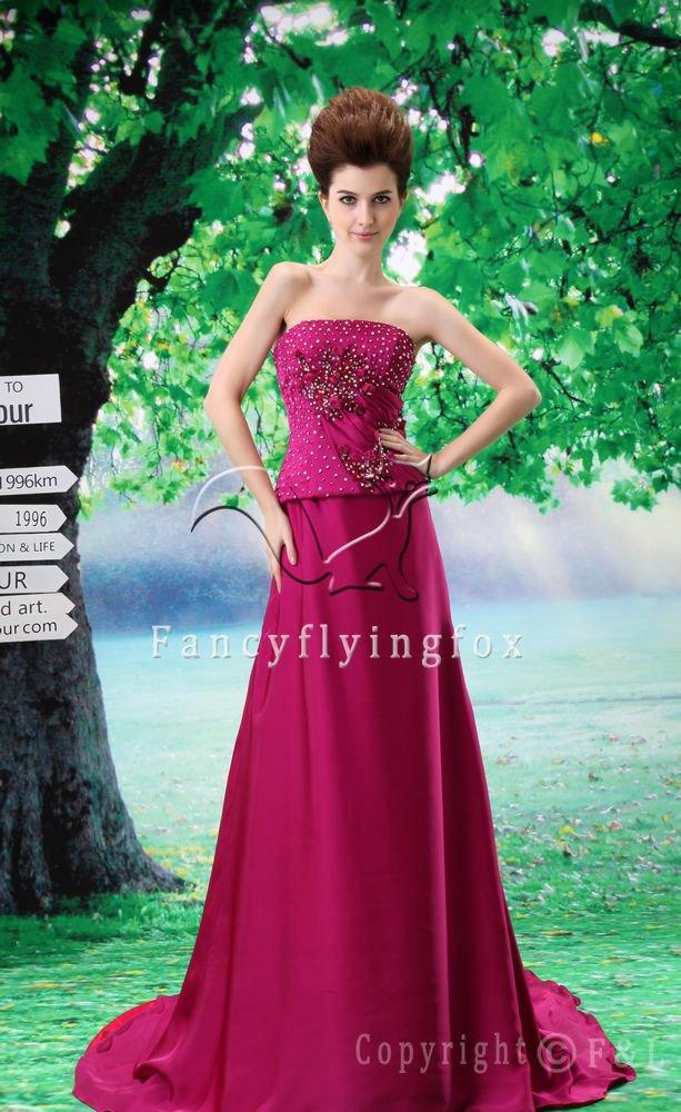 couture design fuchsia satin strapless a-line floor length evening dress L-027