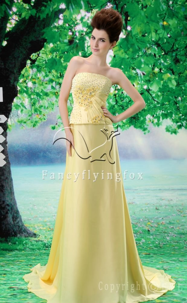charming daffodil satin strapless a-line floor length evening dress L-027