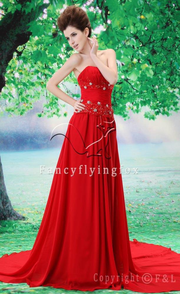 sexy hot red chiffon strapless a-line floor length evening dress L-028