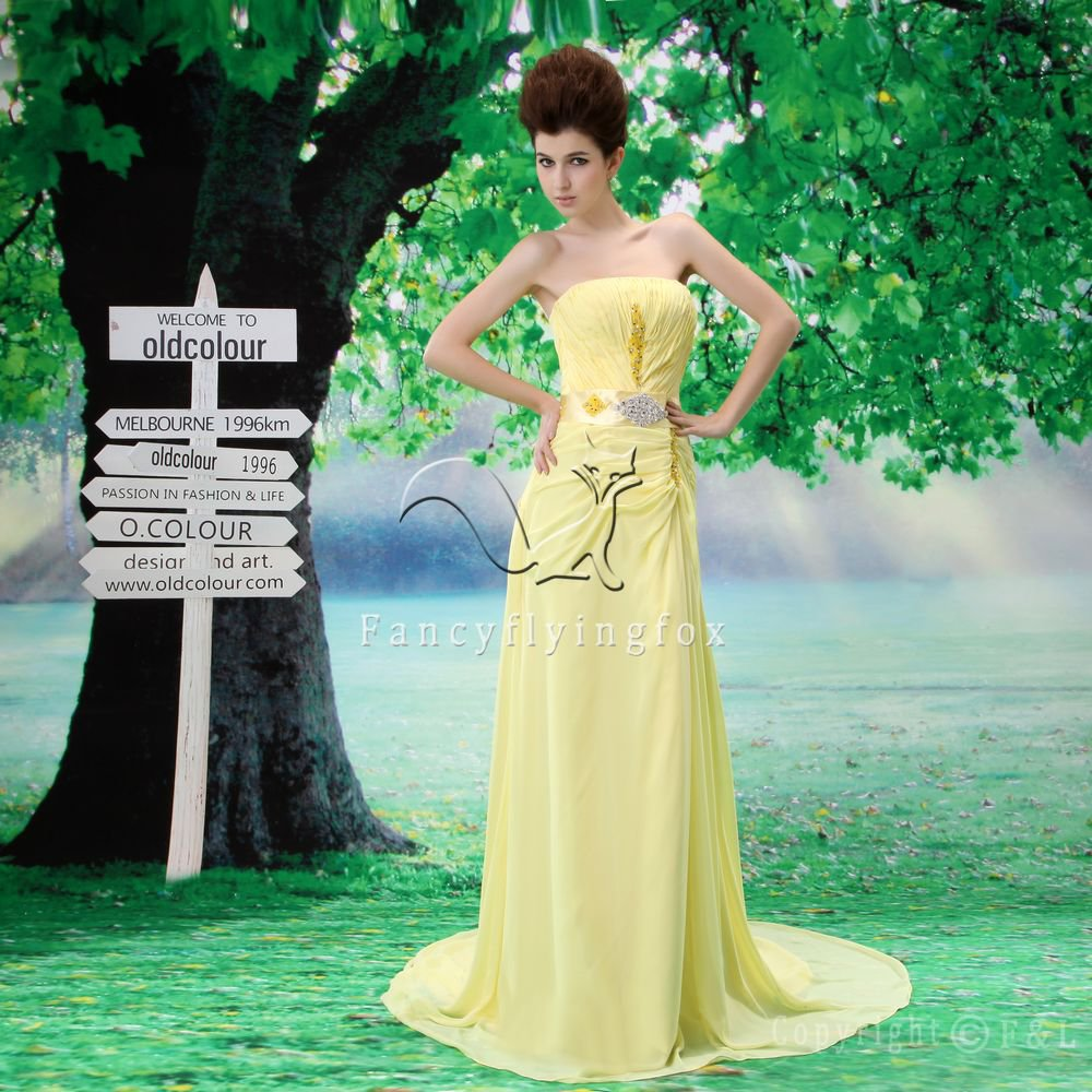stunning daffodil chiffon strapless a-line floor length evening dress L-029