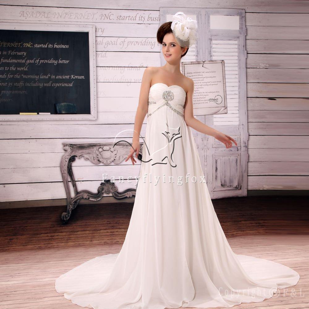awesome shallow sweetheart chiffon empire maternity wedding dress L-030
