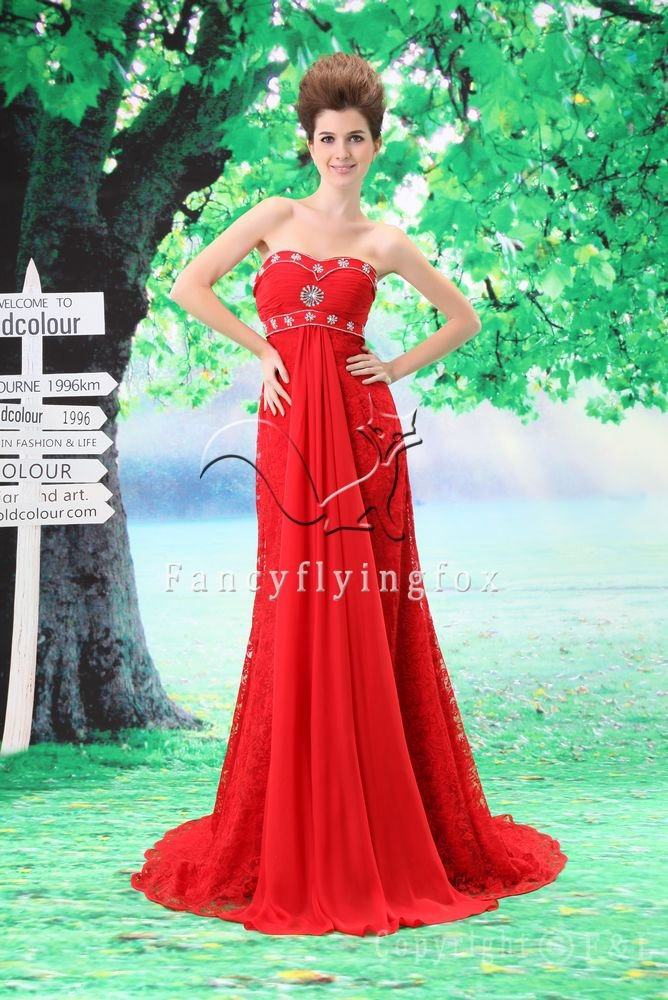gorgeous red chiffon sweetheart a-line floor length evening dress L-032