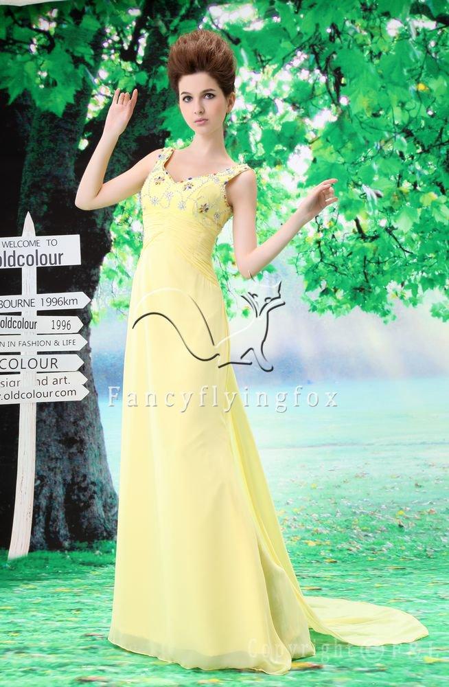 charming straps daffodil chiffon a-line floor length evening dress L-033