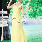 charming straps daffodil chiffon a-line floor length evening dress L-033