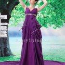 gorgeous deep v-neck purple chiffon a-line floor length evening dresses L-034