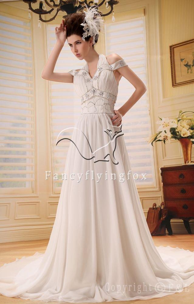 elegant and cheap white chiffon halter a-line floor length beach wedding dress L-035