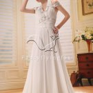 elegant and cheap white chiffon halter a-line floor length beach wedding dress L-035