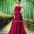 glamour fuchsia chiffon strapless a-line floor length prom dresses L-037
