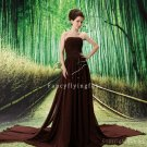 exclusive chocolate chiffon strapless a-line floor length evening dress L-037
