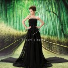 modest black chiffon strapless a-line floor length mother of the bride dress L-037