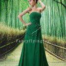 flattering green chiffon strapless a-line floor length evening dress L-038