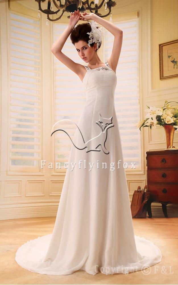 modern white chiffon straps a-line floor length wedding dress Y-001