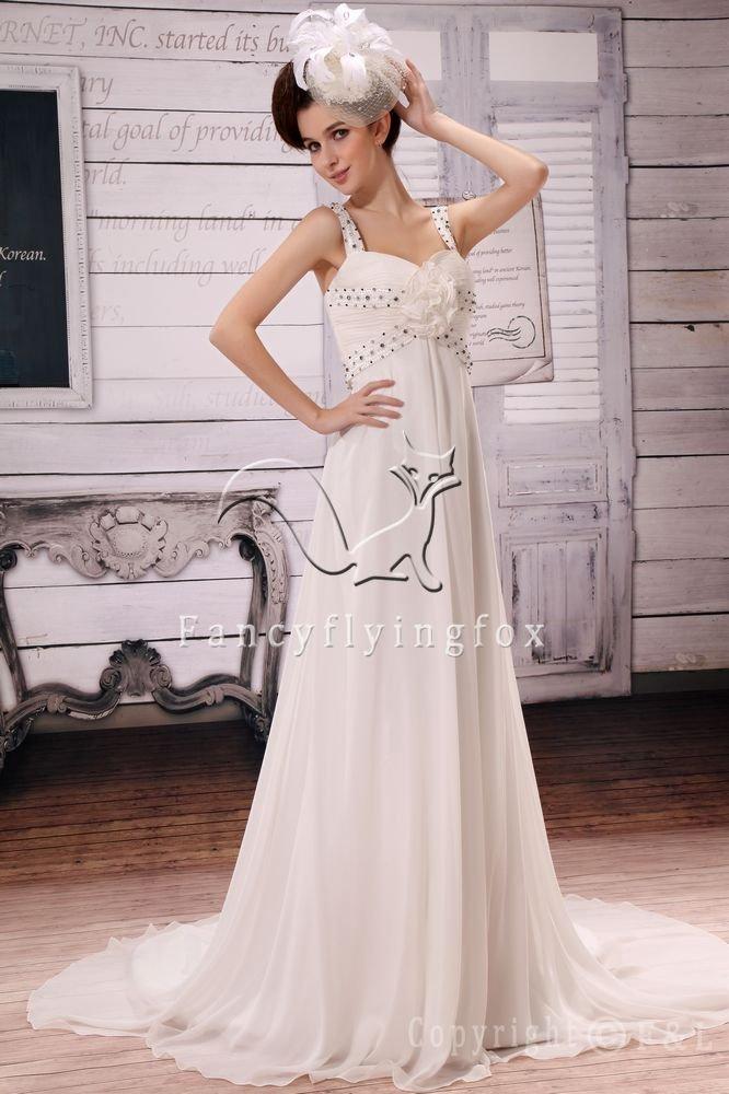 elegant straps white chiffon a-line floor length beach wedding dress Y-002