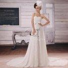 inexpensive shallow sweetheart chiffon a-line floor length wedding dress Y-012