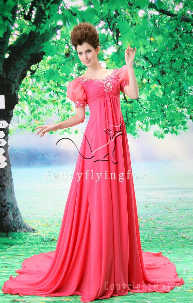 attractive hot pink bateau neck short sleeves floor length empire prom dress Y-071