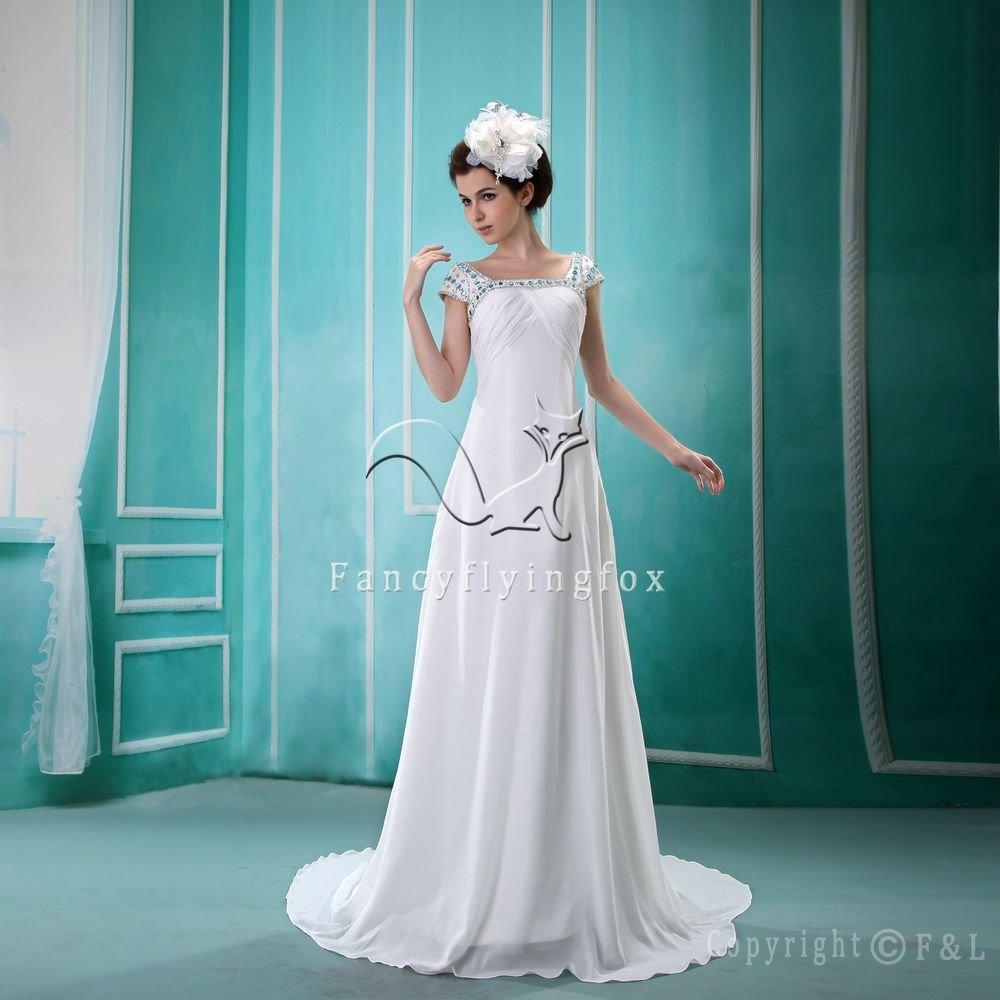 charming straps white chiffon a-line floor length destination wedding dress Y-074