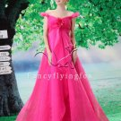 gorgeous fuchsia organza off the shoulder empire prom dress Y-078
