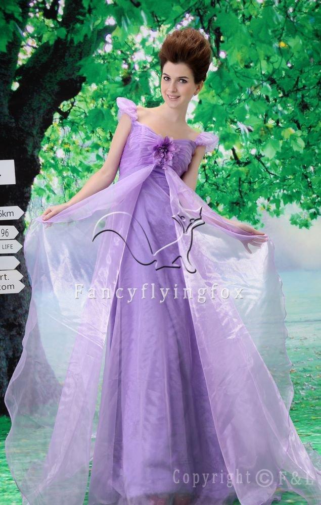 charming lavender organza off the shoulder prom dress Y-078