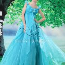 brilliant sky blue organza straps empire floor length prom dress Y-078