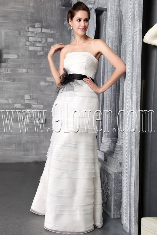 couture white tulle strapless a-line floor length wedding dress with black sash IMG-2509