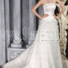 luxurious white tulle strapless a-line floor length wedding dress with chapel train IMG-2823