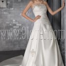 exclusive white satin strapless a-line floor length wedding dresses IMG-2864