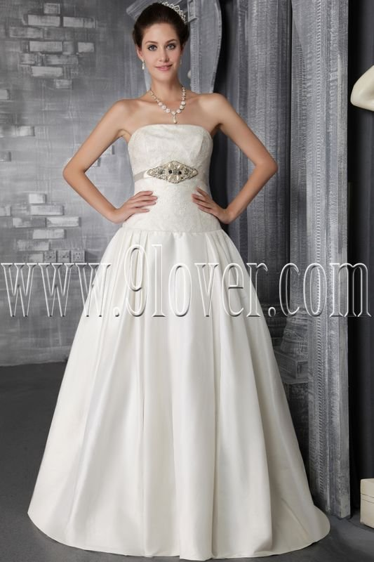 classic white satin a-line floor length wedding dress with chapel train IMG-2879