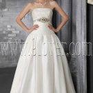 classic white satin a-line floor length wedding dress with chapel train IMG-2879