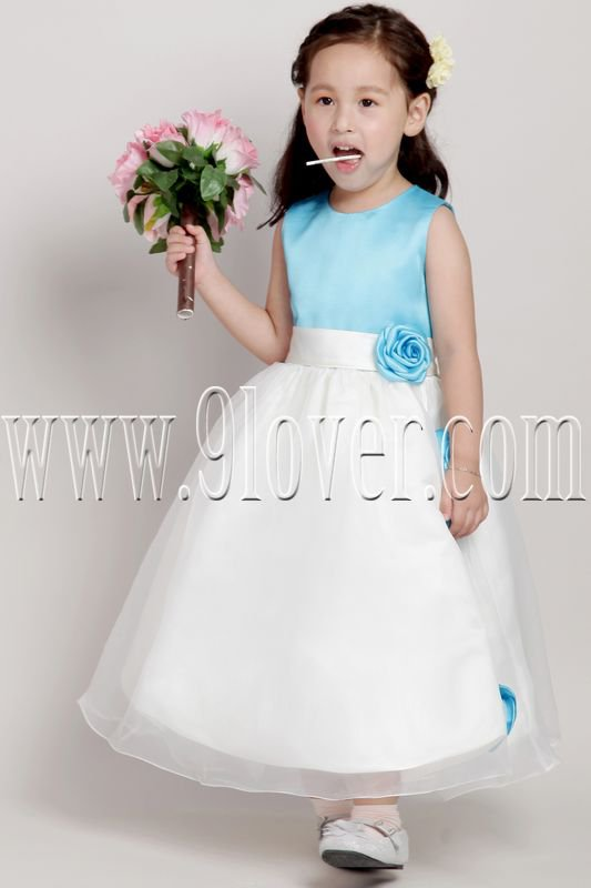 cute blue and white jewel neck a-line tea-length flower girl dress IMG-2074