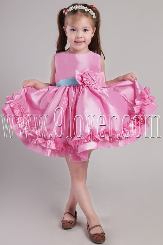 cute hot pink satin jewel neck a-line mini length flower girl dress with blue sash ING-2364