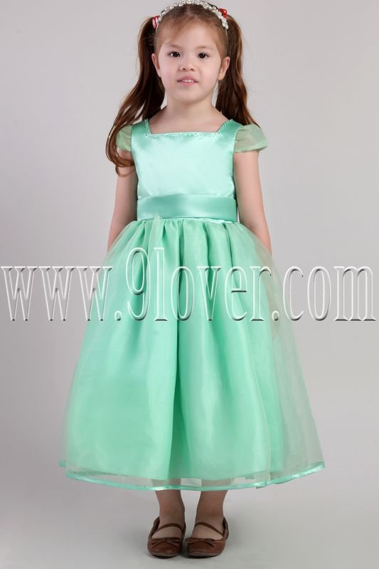 cute sage satin and tulle short sleeves tea-length flower girl dresses IMG-2386