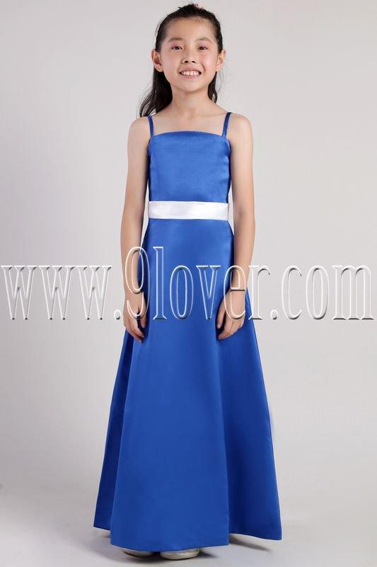 modern royal blue satin spaghetti straps a-line floor length flower girl dresses IMG-2391