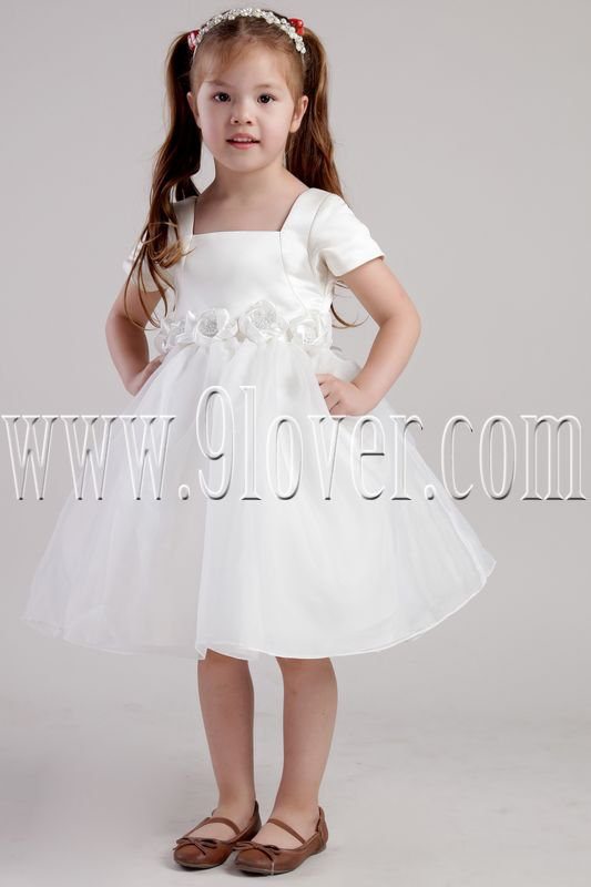 cute white tulle and satin square neck short sleeves knee length flower girl dresses IMG-2404