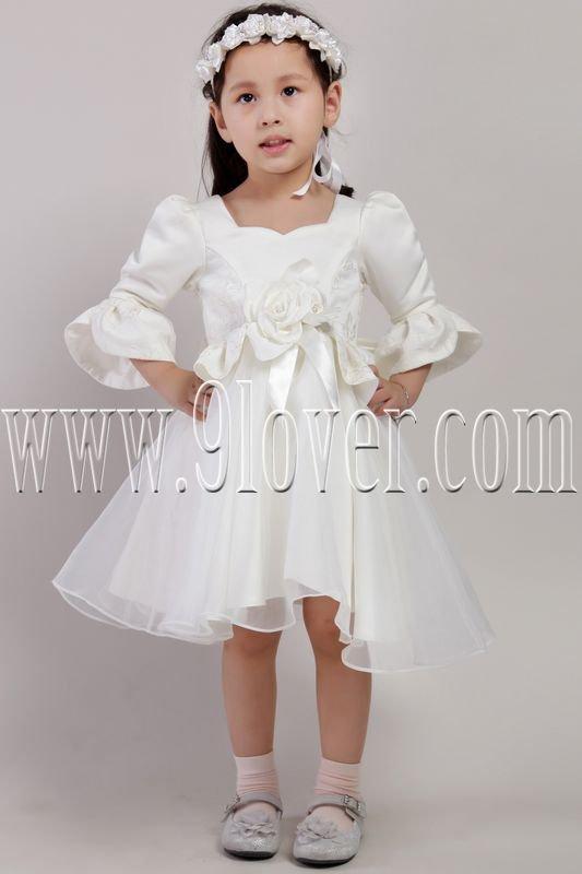 fair tale white satin and tulle long sleeves knee length flower girl dresses IMG-2435