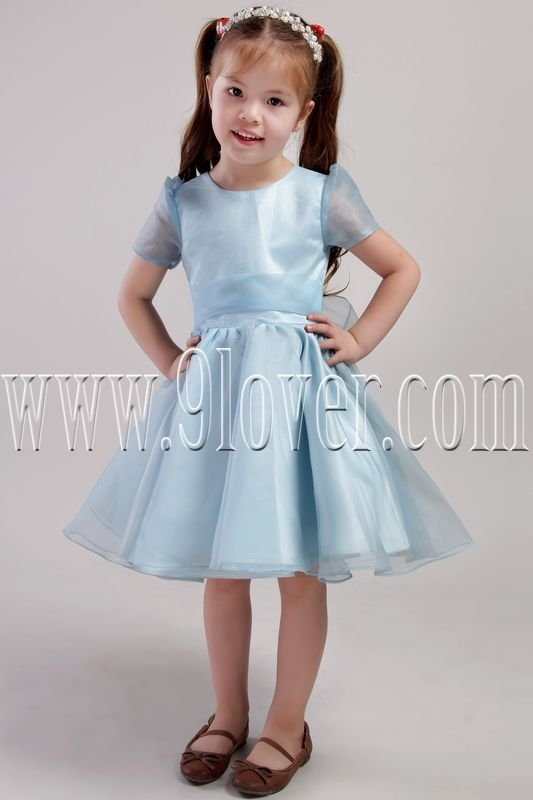 cute ice blue organza jewel neck a-line knee length short sleeves flower girl dress IMG-2446