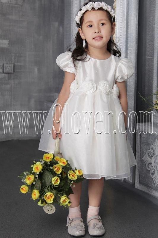 cute jewel neck white satin and tulle short sleeves tea length flower girl skirt IMG-2504