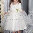 lovely satin and tulle a-line tea length white flower girl dresses with bolero IMG-2524