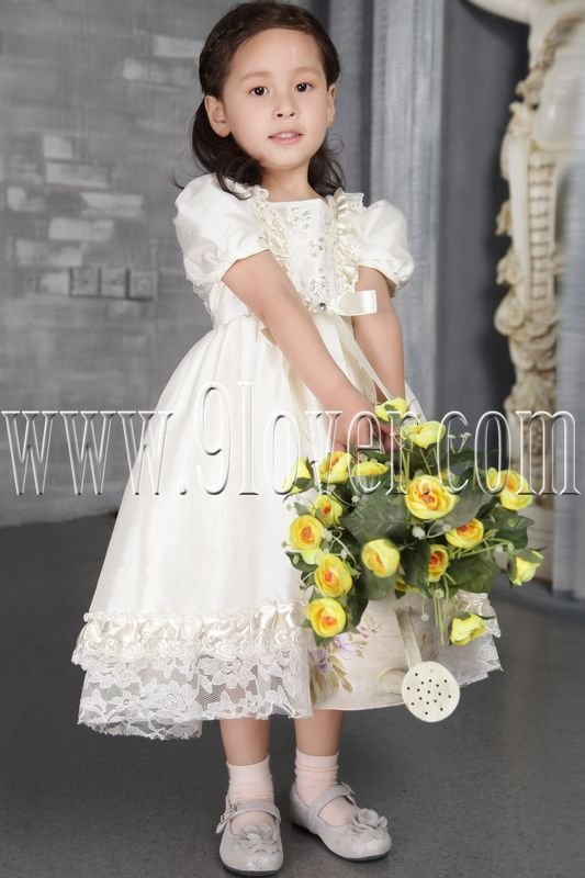 adorable jewel neck a-line tea length short sleeves baby flower girl dresses IMG-2540