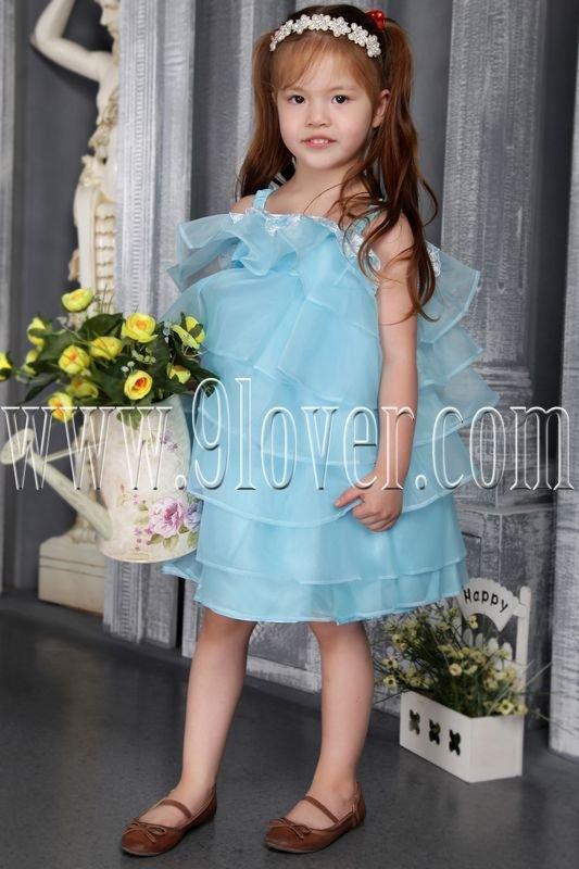 sky blue spaghetti straps organza ball gown mini length flower girls dresses IMG-2548