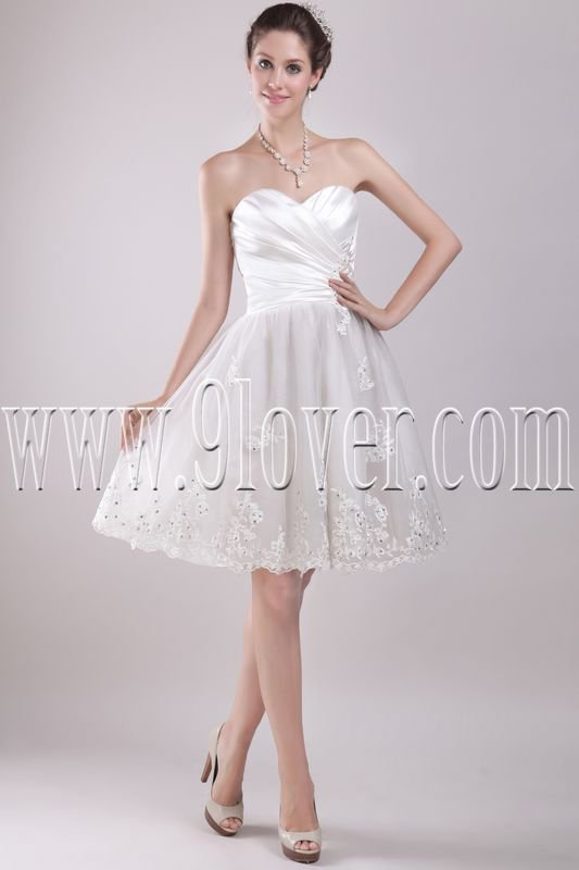 modern white satin and tulle sweetheart a-line knee length homecoming dress IMG-2892