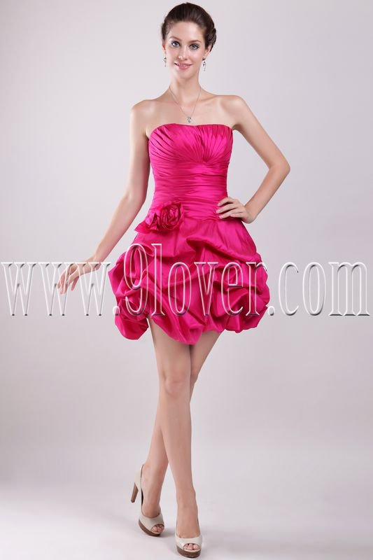 modern fuchsia taffeta strapless mini length cocktail dress IMG-2924