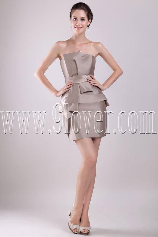 mature silver satin strapless mini length cocktail dress IMG-2931