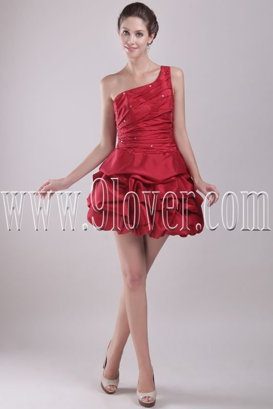chic red satin one shoulder ball gown mini length cocktail dress IMG-2948