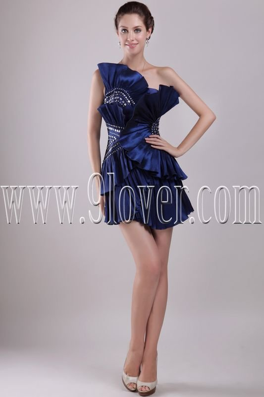 exclusive dark navy blue satin strapless mini length homecoming dress IMG-2955
